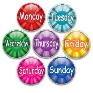 Decorative Push Pins 7 Small Weekdays